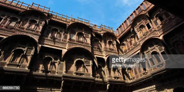 Beautifully detailed wall on the palace in Mehrengarh Fort, Jodhpur, Rajasthan, India