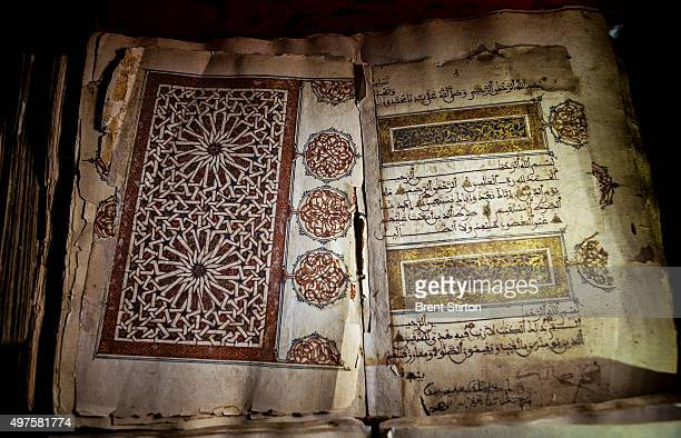 A beautifully illustrated ancient manuscript of Mus'hal Korim adorned with gold photographed at the Ahmed Baba government library in Timbuktu a...