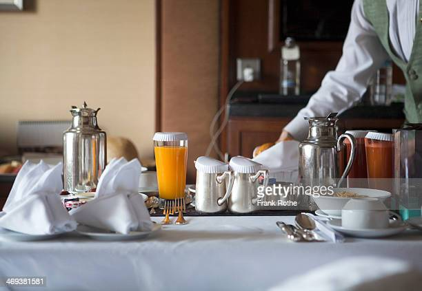 beautifully laid breakfast table - eating utensil stock pictures, royalty-free photos & images