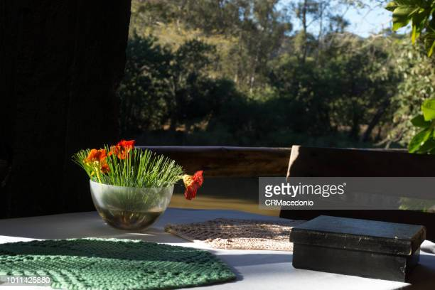 a beautifully laid table waiting for people to enjoy it. - crmacedonio stock photos and pictures