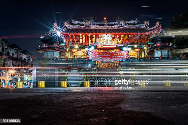 beautifully lit temple - sarawak state stock pictures, royalty-free photos & images
