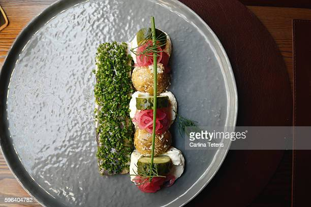Beautifully plated pickeled herring