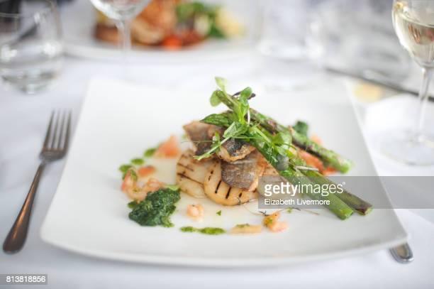 Beautifully presented plate of seabass