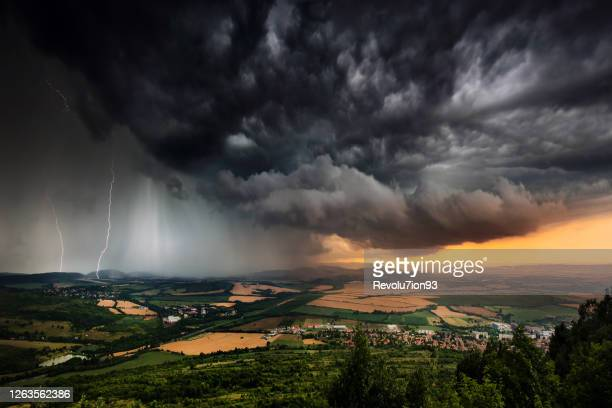 beautifully structured thunderstorm in bulgarian plains - torrential rain stock pictures, royalty-free photos & images