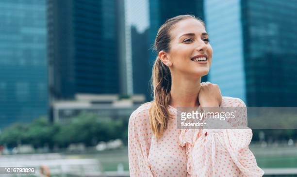 beauty and happiness - ponytail stock pictures, royalty-free photos & images