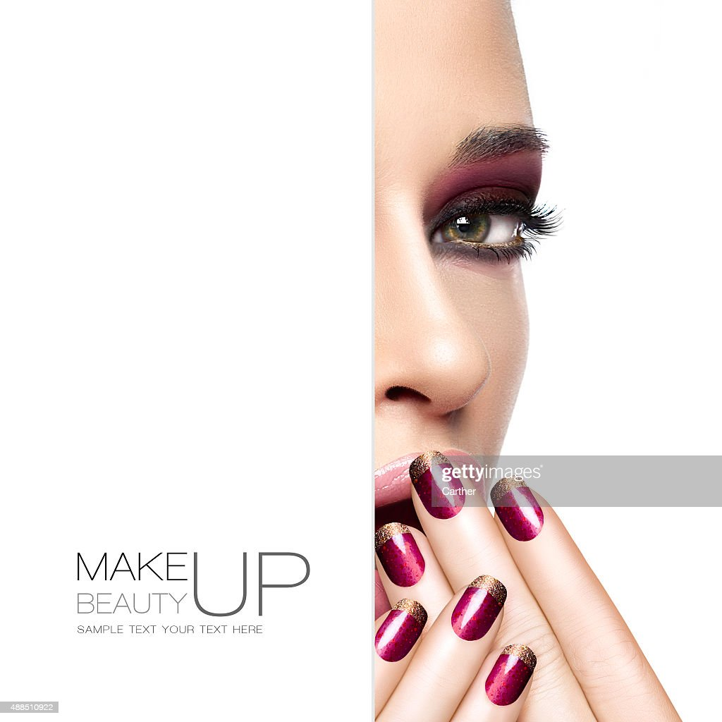 Beauty And Makeup Concept Fashion Makeup And Nails Stock Photo ...