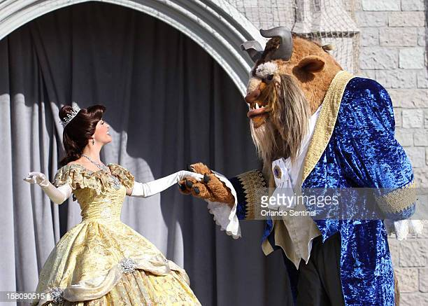Beauty and The Beast appear in the grand opening ceremony of the New Fantasyland at Walt Disney World's Magic Kingdom December 6 in Lake Buena Vista...