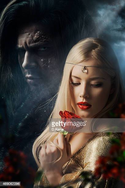 beauty and the beast - old ugly woman stock photos and pictures