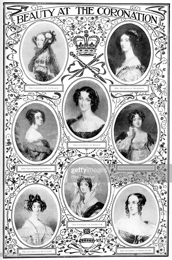 'Beauty at the Coronation', 1837, (1901). Female members of the British aristocracy who attended the coronation of Queen Victoria.
