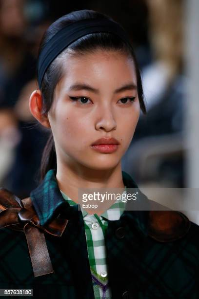 Beauty at the Miu Miu Paris show as part of the Paris Fashion Week Womenswear Spring/Summer 2018 on October 3 2017 in Paris France