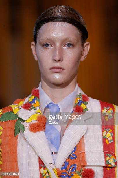 Beauty at the Thom Browne Paris show as part of the Paris Fashion Week Womenswear Spring/Summer 2018 on October 3 2017 in Paris France