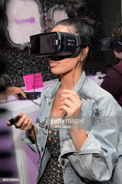 Beauty blogger Karen Gonzalez at the NYX Professional Makeup and Samsung VR Launch Party at Beauty Essex on December 14 2017 in Los Angeles California