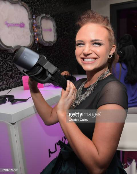 Beauty blogger Mykie at the NYX Professional Makeup and Samsung VR Launch Party at Beauty Essex on December 14 2017 in Los Angeles California