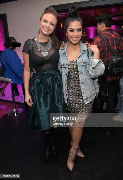 Beauty bloggers Mykie and Karen Gonzalez at the NYX Professional Makeup and Samsung VR Launch Party at Beauty Essex on December 14 2017 in Los...