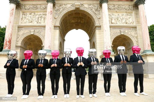 Beauty Butlers Flashmob performs in front of Paris monuments as part of KARL LAGERFELD ModelCo product launch on May 14 2018 in Paris France