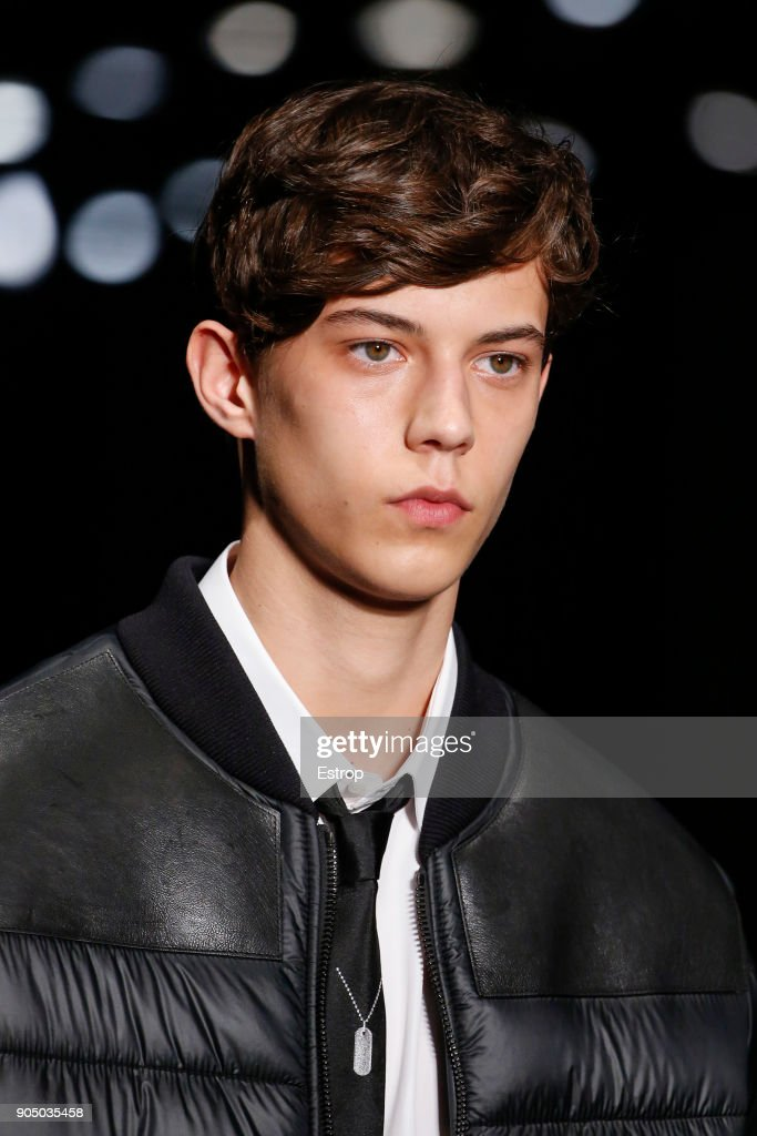 Beauty close-up at Neil Barrett show during Milan Men's Fashion Week Fall/Winter 2018/19 on January 13, 2018 in Milan, Italy.