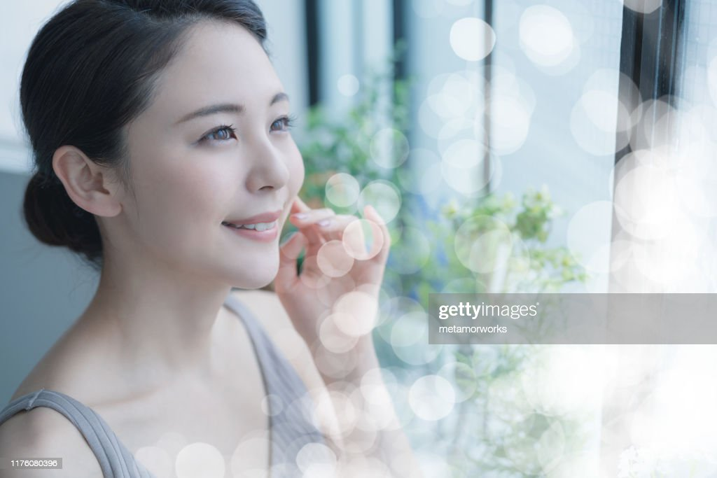 Beauty concept of a young asian woman. Skin care. Body care. Cosmetics. : Stock Photo