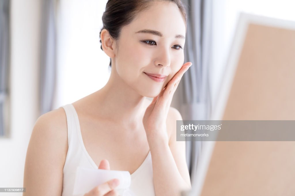 Beauty concept of asian girl. Skin care. : Stock Photo