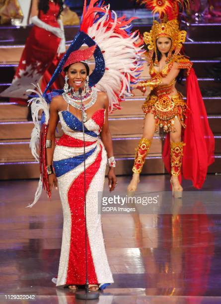 A beauty contestant from USA Jazell Barbie Royale seen performing with her national costume on stage during the annual Miss International Queen 2019...