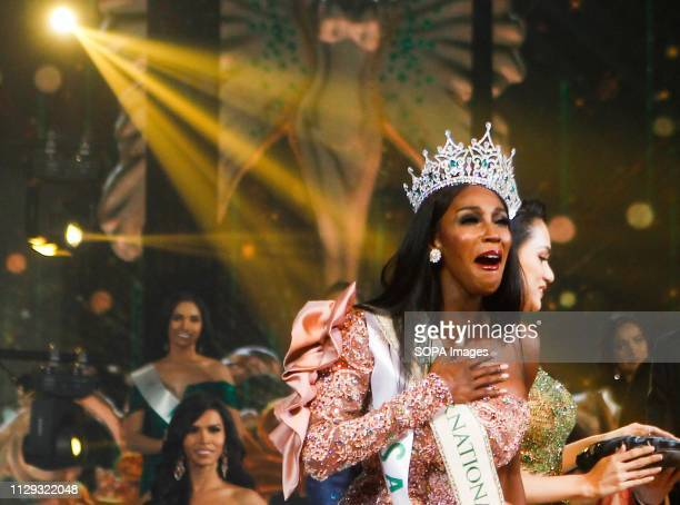 A beauty contestant from USA Jazell Barbie Royale seen reacting after winning the annual Miss International Queen 2019 transvestite contest in the...