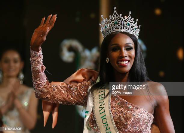 A beauty contestant from USA Jazell Barbie Royale seen waving after winning the annual Miss International Queen 2019 transvestite contest at the...