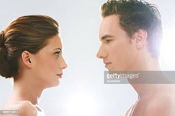 Beauty couple looking at each other.