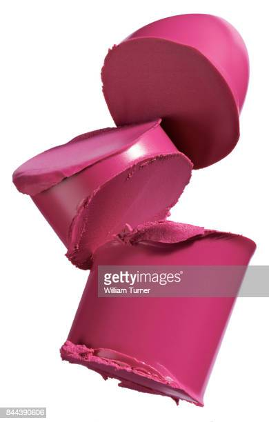 A beauty cut out image of a sliced or chopped sample of pink lipstick