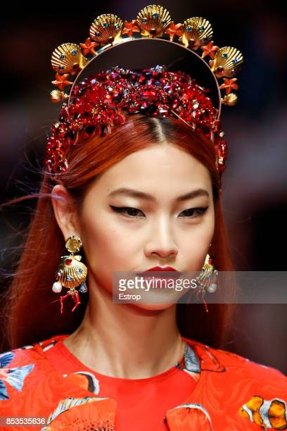Beauty Detail at the Dolce Gabbana show during Milan Fashion Week Spring/Summer 2018 on September 24 2017 in Milan Italy