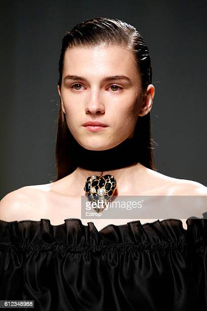 Beauty detail at the Emanuel Ungaro show as part of the Paris Fashion Week Womenswear Spring/Summer 2017 on September 30 2016 in Paris France
