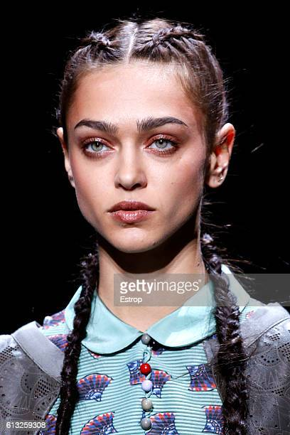 Beauty detail at the Emporio Armani show as part of the Paris Fashion Week Womenswear Spring/Summer 2017 on October 3 2016 in Paris France