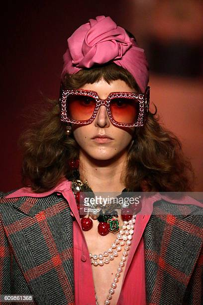 595efc6a724 Beauty detail at the Gucci designed by Alessandro Michele show Milan  Fashion Week Spring Summer