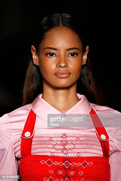 Beauty detail at the Miu Miu show as part of the Paris Fashion Week Womenswear Spring/Summer 2017 on October 5 2016 in Paris France