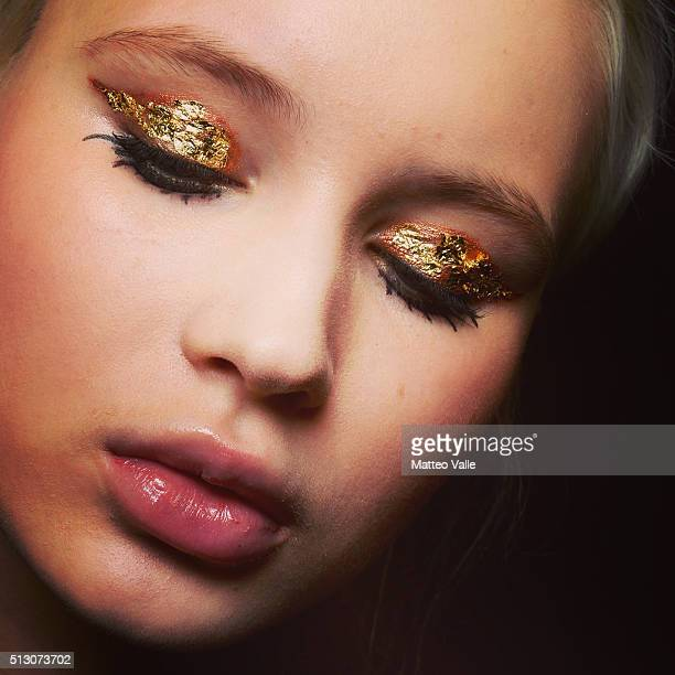 Beauty detail seen backstage ahead of the Leitmotiv show during Milan Fashion Week Fall/Winter 2016/17 on February 27 2016 in Milan Italy