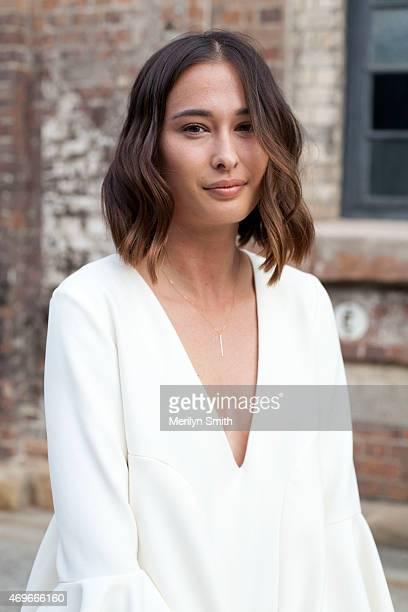 Beauty Editor Eleanor Pendleton wears an Ellery dress at MercedesBenz Fashion Week Australia 2015 at Carriageworks on April 12 2015 in Sydney...