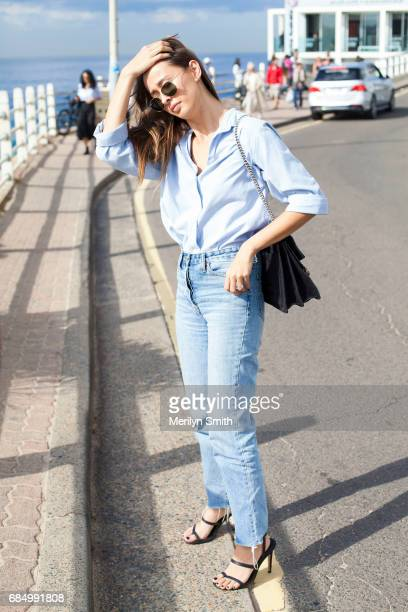 Beauty Editor for Gritty Pretty Eleanor Pendleton wearing Rayban sunglasses Camilla and Marc jeans Gucci bag and Tibi shoes during MercedesBenz...