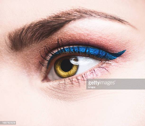 beauty eye close up eyeliner - eye liner stock photos and pictures