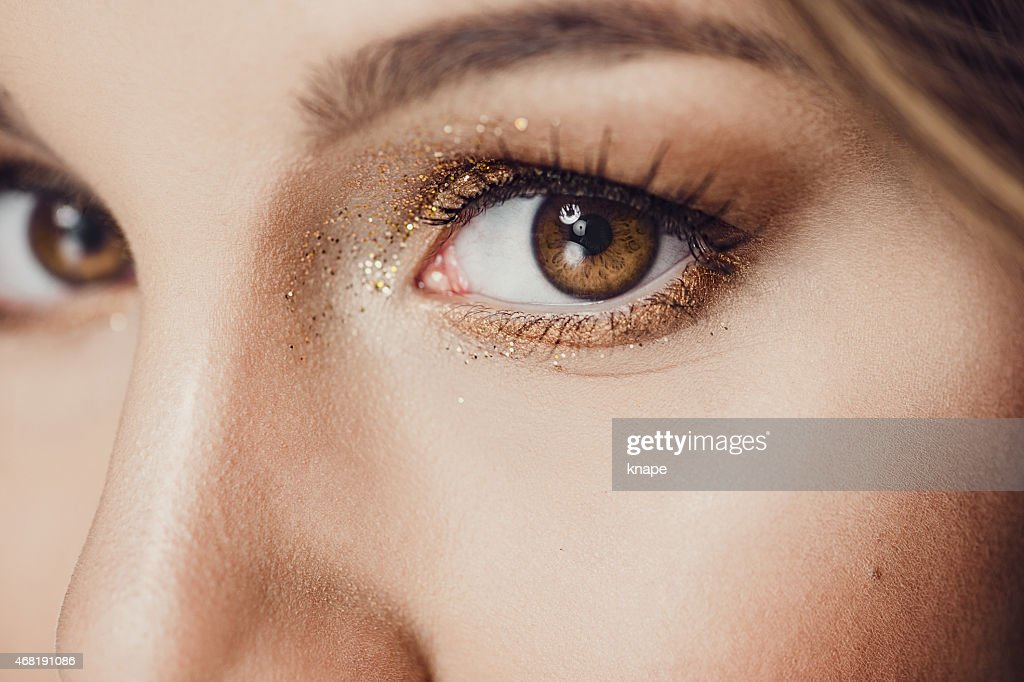 Bellezza occhio chiudere up con glitter : Foto stock