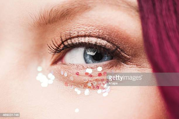 Beauty eye close up with glitter