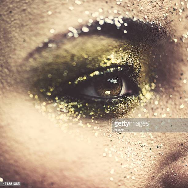 Beauty eye close up with glitter