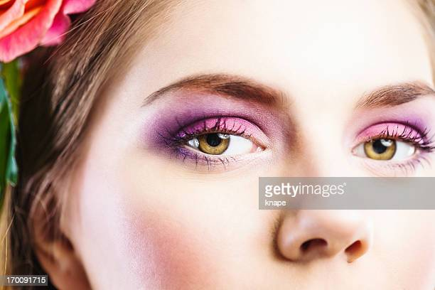 beauty eyes close up purple eyeshadow - hazel eyes stock pictures, royalty-free photos & images
