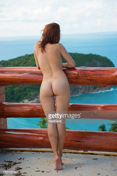 beauty girl on sea background - naturism stock photos and pictures
