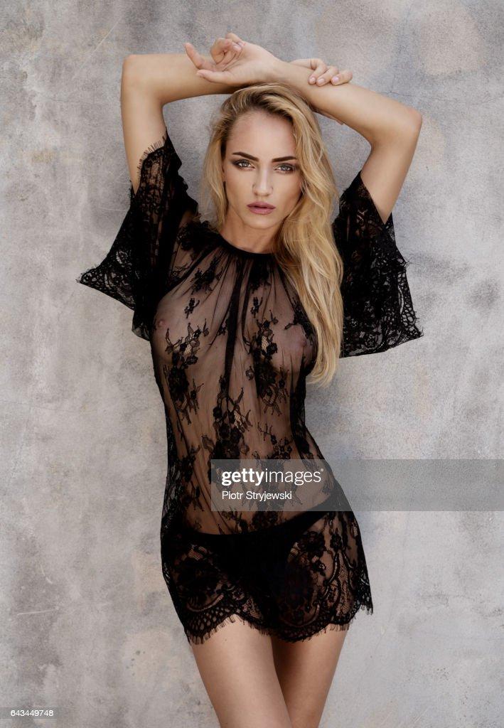 Beauty in black lace dress : Foto de stock