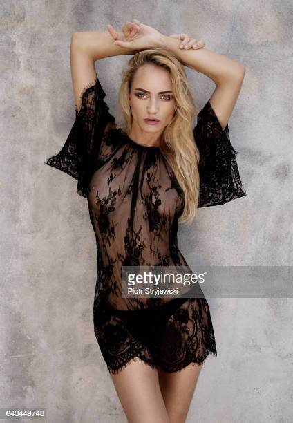 Beauty in black lace dress