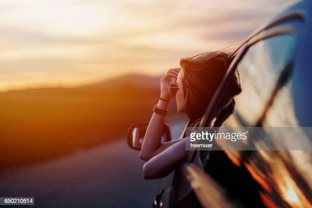 beauty in time of sunset - road trip stock photos and pictures