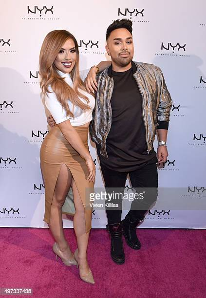 Beauty influencers @iluvsarahii and @mac_daddyy attend the NYX Cosmetics Grand Opening at Victoria Gardens on November 15 2015 in Rancho Cucamonga...