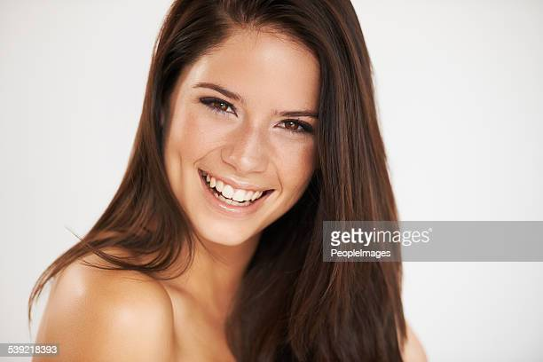 beauty is power; a smile is it's sword - beautiful bare women stock photos and pictures