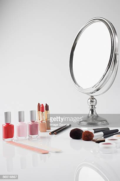 beauty items - hand mirror stock photos and pictures