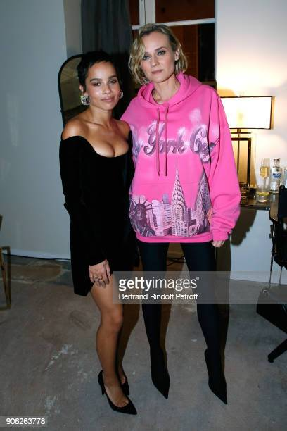 YSL Beauty Makeup Ambassadress Zoe Kravitz and actress Diane Kruger attend the 'YSL Beauty Hotel' event during Paris Fashion Week Menswear...