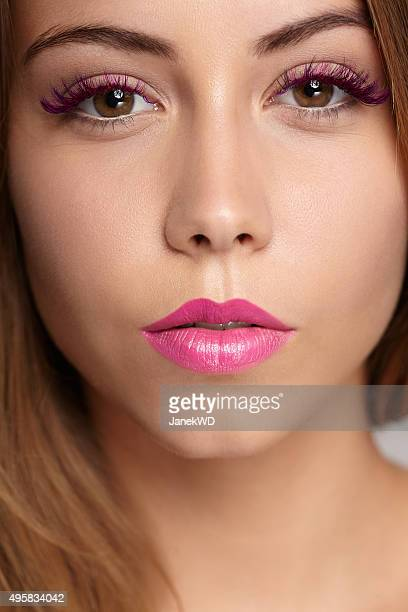 beauty makeup closeup - false eyelash stock pictures, royalty-free photos & images