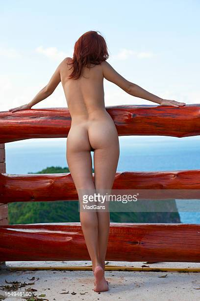 beauty nude girl on sea background - bare bottom women stock photos and pictures